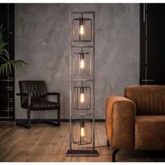 Industrieel vloerlamp 4x cubic tower + 4 led gloeilampen cadeau