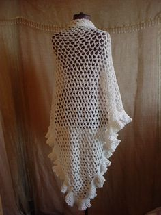 Vintage White Crocheted Shawl Wrap with Ruffled Hem and Scrap Jewelry Clasp