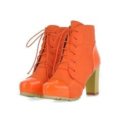 British Style High Heels Lace-Up Spliced Boots Orange ❤ liked on Polyvore featuring shoes, laced shoes, lace up high heel shoes, lace up shoes, laced up shoes and high heel shoes