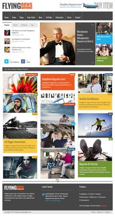 FlyingNews Responsive MAgazine WordPress Theme ThemeForest #jawtemplates Newspaper Design, Design Web, Premium Wordpress Themes, Content, Templates, Blog, Journaling, Models, Web Design