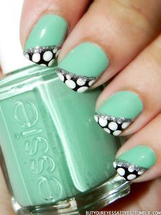 Turquoise & Caicos (Essie), Black Rage (Pure Ice), French White Tip (NYC), Platinum Glitter (Orly).love this color by essie I just bought it. Get Nails, Fancy Nails, Love Nails, How To Do Nails, Pretty Nails, Hair And Nails, Crazy Nails, Cute Nail Designs, Paint Designs