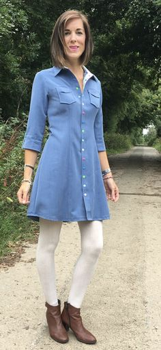 Emma's Rosa Shirtdress - Sewing pattern by Tilly and the Buttons Shirt Dress Pattern, Tilly And The Buttons, Shirtdress, Sewing Patterns, Inspiration, Shirts, Clothes, Dresses, Women