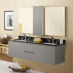 Double Wall Mount Bathroom Vanity Set with Mirror and Cabinet