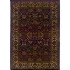 Oriental Weavers Traditional Red Gold Polypropylene Oriental Machine-Woven Area Rug