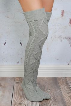 The Grey Cable Knit Boot Socks are stylish and cozy, making them a perfect choice for casual afternoons when looking effortlessly cute is of utmost importance! a CONTENT + CARE: - Our highest-quality, Sexy Socks, Cute Socks, Thick Socks, Fall Outfits, Cute Outfits, Fashion Outfits, Wide Calf Boots, Boot Socks, Knitting Socks