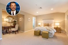 Jimmy Kimmel Calming shades of green, white, and gold create a peaceful atmosphere for the late night host to unwind and relax. Bedroom Colors, Home Decor Bedroom, Master Bedroom, Bedroom Ideas, White Bedroom, Bedroom Designs, Bedroom Wall, Master Suite, Celebrity Bedrooms