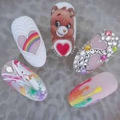 No care bear. Beautiful nails by Ugly Duckling Exclusive Ambassador Ugly Duckling Nails page is dedicated to promoting quality, inspirational nails created by International Nail Artists Perfect Nails, Gorgeous Nails, Love Nails, Pink Nails, Disney Acrylic Nails, Best Acrylic Nails, Nail Art Dessin, Nail Art Wheel, Nail Time