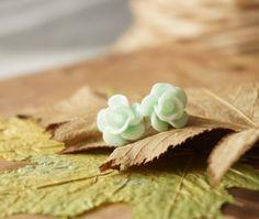 Tender Light Mint Green Flower Earrings Pastel Resin by ByLEXY