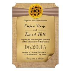 Country Sunflower Ball Burlap Wedding Invitations