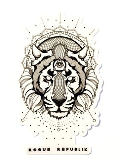 Majestic Rogue Tiger Sticker (Black graphics on a transparent back round)