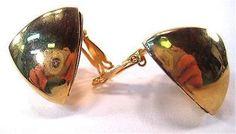 Vintage Alexis Kirk Gold Tone Modernist Clip Earrings * #AlexisKirk