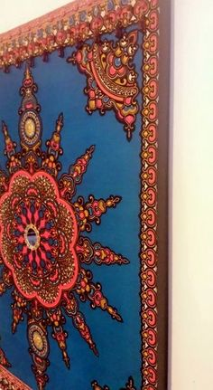 Eclectic Sun - Eclectic WallsMesmerizing electric blue, pink, and other colors and design that bring a room to life. This mixed media wall art comprised of African wax fabric adorned with brass, glass, and glass beads mounted on a wood frame. Framed Wall Art, Wall Art Decor, Wall Drawing, Eclectic Decor, New Age, Media Wall, Glass Beads, African, Symbols