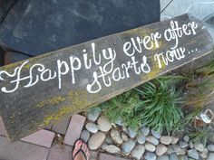 Happily Ever After Starts Now Wedding Sign Decoration Rustic Country Wedding Reception Garden white Reclaimed Winery Sale Beach Shabby Chic. $26.20, via Etsy.