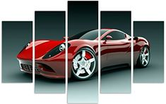 QICAI 5 Panels Sport Car Canvas Framed Wall Art Wall Canvas Art Wall Paintings for Home Decor Car Pictures Printed on Canvas Stretched ,Ready to Piece Wall Art,Canvas Wall Art Red Canvas Frame, Canvas Wall Art, Canvas Prints, Print Pictures, Car Pictures, Wall Paintings, Framed Wall Art, Wall Decor, Sport