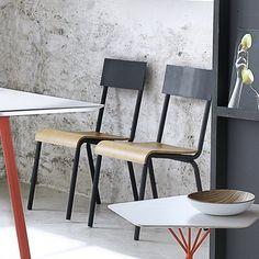 Lot de 2 chaises métal style écolier SCHOOL Gris, 3 Suisses