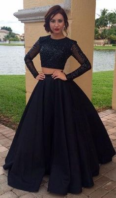 Sexy Prom Dress,Long Sleeves Prom Dress, Two Piece Prom Dress, Dark Navy Sequins Prom Gowns,Two Piece Dark Navy Party Dress
