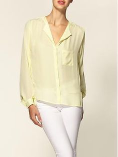 Yellow Silk Pocket Top by Parker