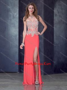 Column Watermelon Red Prom Dress with High Slit and Appliques