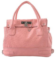 Pink Chic Office Tote Soft Leatherette Embossed Ostrich Double Handle Satchel Handbag Shoulder Bag w/Detachable Strap