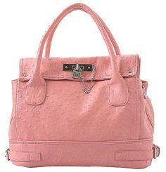 Pink Chic Office Tote Soft Leatherette Embossed Ostrich Double Handle Satchel Handbag Shoulder Bag w/Detachable Strap for $25.50