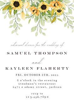 Soft Pastel Sunflower - Rehearsal Dinner Party Invitation #invitations #printable #diy #template #Rehearsaldinner #wedding Wedding Rehearsal, Rehearsal Dinners, Dinner Party Invitations, Wedding Invitations, Pastel, Cake, Wedding Invitation Cards, Crayon Art, Wedding Invitation
