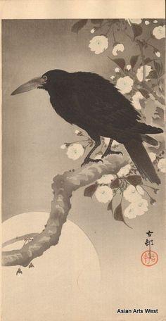 Ohara Koson Japanese Woodblock Crow on Cherry Tree