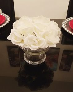 """5"""" and 8.5"""" Rhinestone Glass Pedestal Vases, Wedding Centerpiece Vase, Candy Buffet Jars, Candy Jars by LadyJunon on Etsy"""