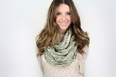 infinity scarf, vintage inspired crochet trim scarf MORE COLORS, lightweight infinity scarf