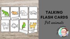 Pet Animals Talking Flash Cards - Tarjetas de vocabulario en inglés
