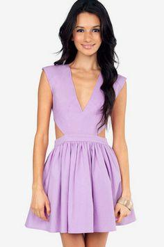 schrock frock cutout dress in lavender.