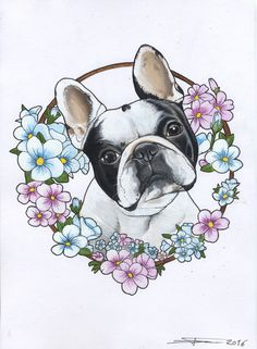 Frenchie , French Bulldog , tattoo , design , cutie , dog painting , dog portrait , flowers