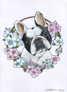 Frenchie , French Bulldog , tattoo , design , cutie , dog painting , dog portrait , flowers
