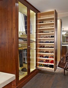 Love!Closet/shoe storage for front hall in log cabin :2 matching antique screen doors- refinished or weathered w/barnboard on the pull-out section, or a crackled glaze finish-sage green/white topcoat.Glass or screen.Black antique wrought iron hand pulls.Shelves for tall boots & drainage on bottom shelf for wet footwear. Bottom racks, or all of them, could be heavy plastic with holes/slots and/or coated wire shelving material (like baskets in freezers) for durability, air circulation…