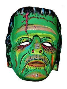 Frankenstein's monster - vintage retro plastic Halloween mask Halloween Items, Halloween Photos, Halloween Masks, Vintage Halloween, Fall Halloween, Monster Mask, Frankenstein's Monster, Scary Clown Makeup, Vintage Horror