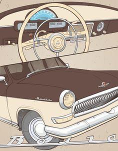 Car of the USSR 50-60s by Alexander Anisenkov, via Behance