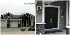 grey exterior exterior painted chelsea gray by benjamin moore with black door white trim and charcoal slate stone Exterior Gray Paint, Exterior Paint Colors For House, Paint Colors For Home, Exterior Colors, Benjamin Moore Exterior, Benjamin Moore Paint, Black Garage Doors, Black Doors, Front Doors
