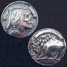 STEPHAN MILES HOBO NICKEL - NORTHWEST WARRIOR/BUFFALO - 2 SIDED CARVING - 1917 BUFFALO NICKEL Hobo Nickel, Art Forms, Sculpture Art, Buffalo, Coins, Miniatures, Carving, Rooms, Wood Carvings