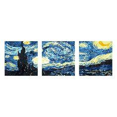 Farbe nach Zahlen auf der Leinwand Zeichnen mit Pinsel 40,6 x 50,8 cm ohne Rahmen Weihnachtsdekoration DIY /Ölgem/älde Malen nach Zahlen f/ür Erwachsene Without Frame Purple Starry Sky