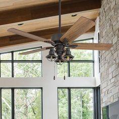 Industrial Ceiling Fan, Bronze Ceiling Fan, Sloped Ceiling, Ceiling Lights, Ceiling Fans, Ceiling Ideas, Ceiling Decor, Windmill Ceiling Fan, Bedroom Fan