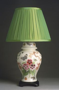 decoupage...      I really love this.  It is classic and the decor and color are perfect. Like the pansies and green shade.