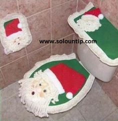 Fundas para baño navideñas en fieltro ~ Solountip.com