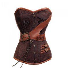 Brown Steel Boned Steampunk Belt Corset