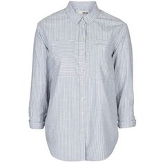 Women's Topshop 'Elton' Stripe Oversize Shirt (530 HKD) ❤ liked on Polyvore featuring tops, oversized shirts, striped top, striped cotton shirt, cotton shirts and striped shirts