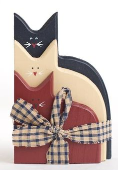 folk art, primitive, and americana wood crafts and wreaths | Primitive Americana Painted Wood Cats Grouping with Homespun ...