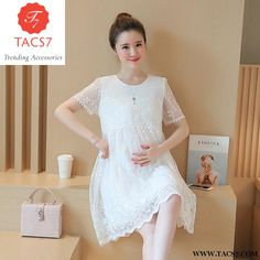 eb8f2ba3112 Maternity Clothes 2017 Spring Summer Short Lace Patchwork Plus Size Loose Dress  Pregnancy For Pregnant Women