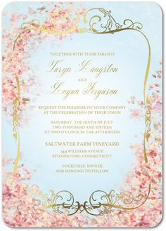 Perfect Paradise - Signature Foil Wedding Invitations in Lightest Turquoise or Sheer Lilac   Claire Pettibone