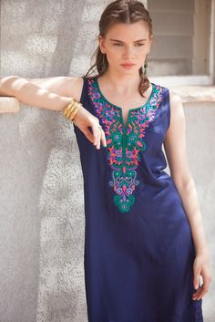 Short Kaftan Summer Dress Tribal Dress Blue by AnabellaWomen African Fashion Dresses, African Dress, Traditional Fashion, Traditional Outfits, Bohemian Summer Dresses, Casual Dresses, Short Dresses, Moroccan Caftan, Tribal Dress