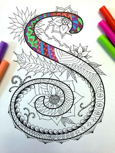 Letter S Zentangle Inspired by the font Harrington por DJPenscript