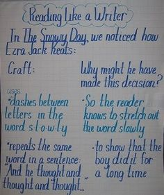 Reading Like a Writer Anchor Chart using Ezra Jack Keats' The Snowy Day as a mentor text.