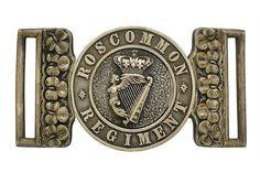 Badge. Irish. Roscommon Militia Officer's waist belt clasp circa 1856-81. A fine and rare silver